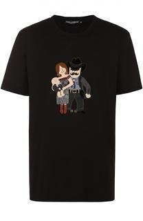 Хлопковая футболка с аппликацией DG Family Dolce & Gabbana