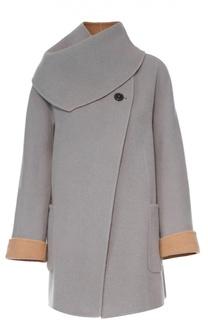 Шерстяное пальто прямого кроя с отстегивающимся воротником Giorgio Armani