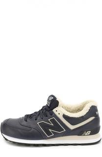 Утепленные кожаные кроссовки 574 на шнуровке New Balance
