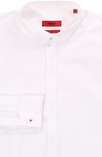 Хлопковая приталенная сорочка с воротником бабочка HUGO