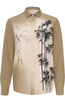 Шелковая блуза прямого кроя с принтом Valentino