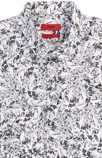 Хлопковая приталенная рубашка с принтом HUGO