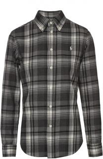 Блуза прямого кроя в клетку с вышитым логотипом бренда Polo Ralph Lauren