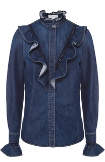 Джинсовая блуза с оборками и воротником-стойкой Stella McCartney