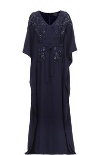 Платье в пол с поясом и цветочной вышивкой St. John