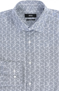 Хлопковая приталенная рубашка с принтом BOSS