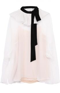 Шелковая полупрозрачная блуза с контрастным воротником аскот Chloé