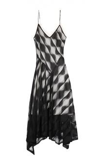 Приталенное платье на бретельках асимметричного кроя DKNY