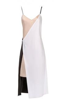 Платье на бретельках асимметричного кроя DKNY