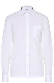 Хлопковая блуза с накладными карманами и декоративными шипами Valentino