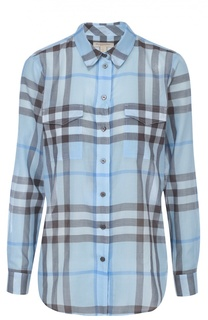 Хлопковая блуза в клетку с накладными карманами Burberry Brit
