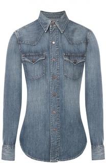 Приталенная джинсовая блуза с накладными карманами Polo Ralph Lauren
