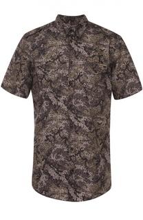 Хлопковая рубашка с короткими рукавами и камуфляжным принтом Dolce & Gabbana
