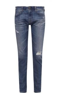 Зауженные джинсы с потертостями Ag