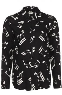 Блуза прямого кроя  с контрастным принтом Saint Laurent