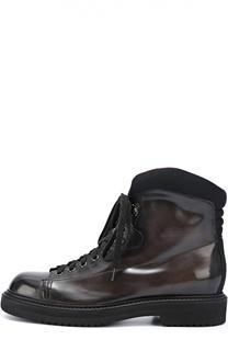 Кожаные ботинки на шнуровке Santoni