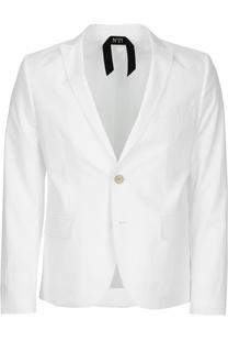 Хлопковый однобортный пиджак No. 21