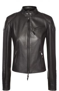 Укороченная кожаная куртка с декоративной отделкой Ralph Lauren