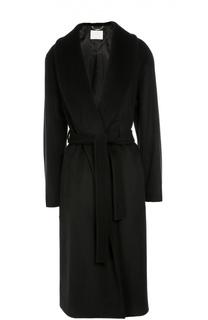 Шерстяное пальто с широкими лацканами и поясом BOSS