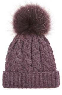 Кашемировая шапка с меховым помпоном Kashja` Cashmere