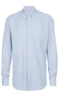 Хлопковая рубашка с воротником button down Brioni