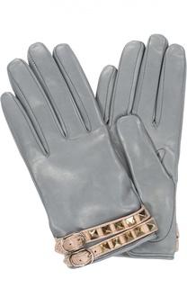 Кожаные перчатки с металлическими шипами Valentino