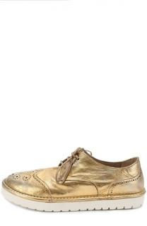 Ботинки из металлизированной кожи с брогированием Marsell