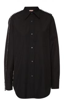 Хлопковая блуза прямого кроя с декоративной отделкой No. 21