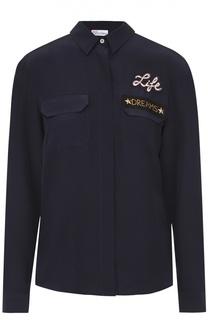 Шелковая блуза с накладными карманами и контрастной вышивкой REDVALENTINO