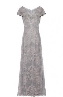 Кружевное приталенное платье в пол с вырезом на спине Tadashi Shoji