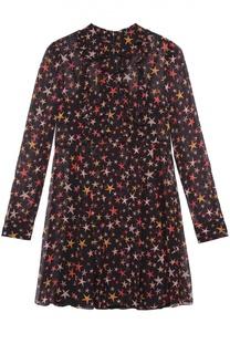 Шелковое мини-платье с контрастным принтом REDVALENTINO