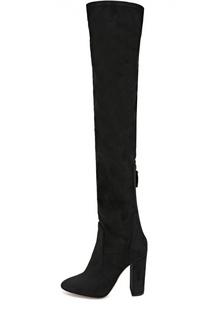 Текстильные ботфорты Thigh на устойчивом каблуке Aquazzura