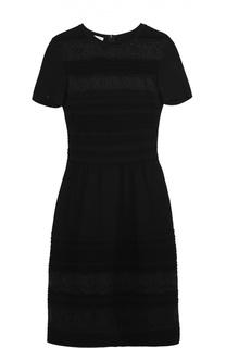 Приталенное платье с коротким рукавом и кружевными вставками Oscar de la Renta
