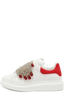 Кожаные кеды с застежкой велькро с декором Alexander McQueen