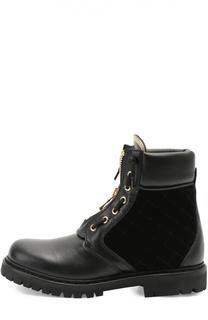 Кожаные ботинки с текстильной вставкой Balmain