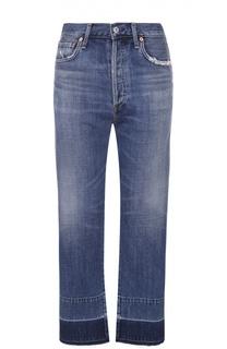 Укороченные джинсы прямого кроя с потертостями и бахромой Citizens Of Humanity