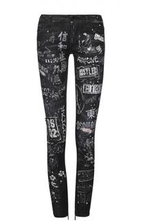 Укороченные джинсы-скинни с принтом и потертостями Dsquared2
