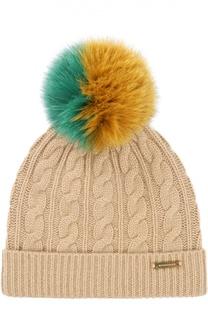 Вязаная шапка с помпоном из меха Burberry