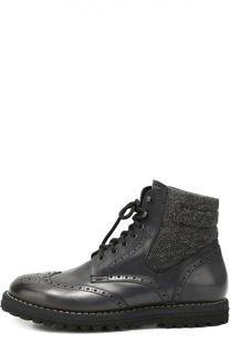 Кожаные ботинки с брогированием и внутренней меховой отделкой W.Gibbs