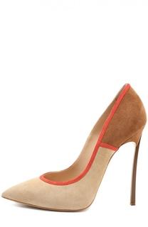 Туфли из нубука на шпильке Blade Casadei