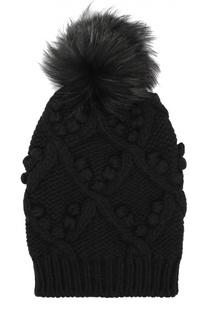 Шапка фактурной вязки с меховым помпоном Dolce & Gabbana