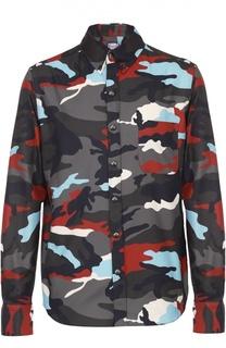 Хлопковая рубашка с камуфляжным принтом Moncler