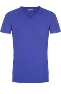 Хлопковая футболка с V-образным вырезом Emporio Armani
