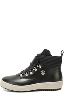 Кожаные ботинки с текстильной отделкой на шнуровке Bogner