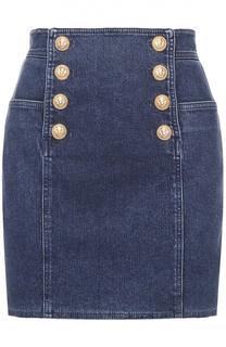 Джинсовая мини-юбка с контрастными пуговицами Balmain