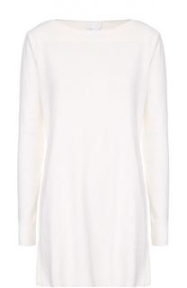 Удлиненный пуловер фактурной вязки с разрезами DKNY