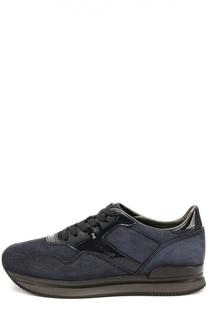 Замшевые кроссовки с лаковыми вставками Hogan