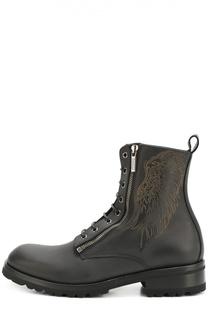 Кожаные ботинки на шнуровке с молнией Roberto Cavalli