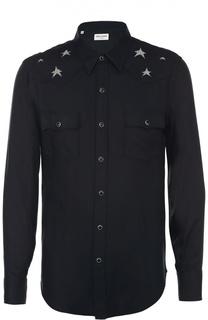 Рубашка из вискозы на кнопках Saint Laurent