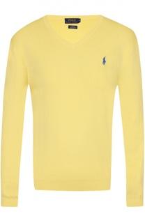 Хлопковый пуловер с логотипом бренда Polo Ralph Lauren